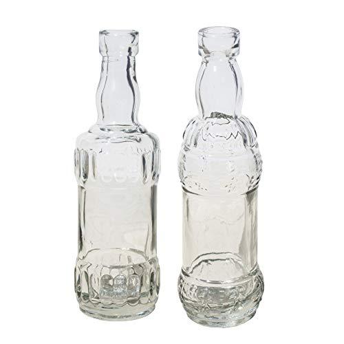 12 x kleine Dekoflaschen aus Glas Vintage H 16 cm inklusive 6 Meter Dekoband champagnerfarben - Vase Glas - Blumenvase - Glas Flaschen Vintage - Kleine Deko Vasen (Vintage Vase Glas)