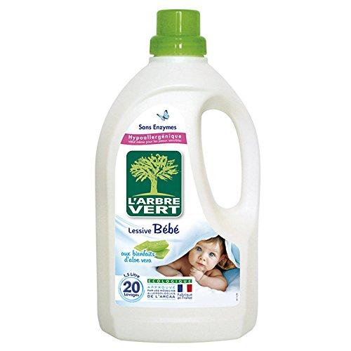 L'Arbre Vert Lessive Liquide Bébé à l'Aloe Vera 1,5 L 20 Lavages