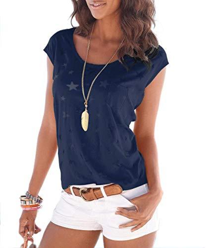 TrendiMax Damen T-Shirt Tops Ärmellos Basic Sommer Shirts Allover-Sternen Druck Sexy Oberteil (Dunkelblau, 2XL) - Leichtes T-shirt