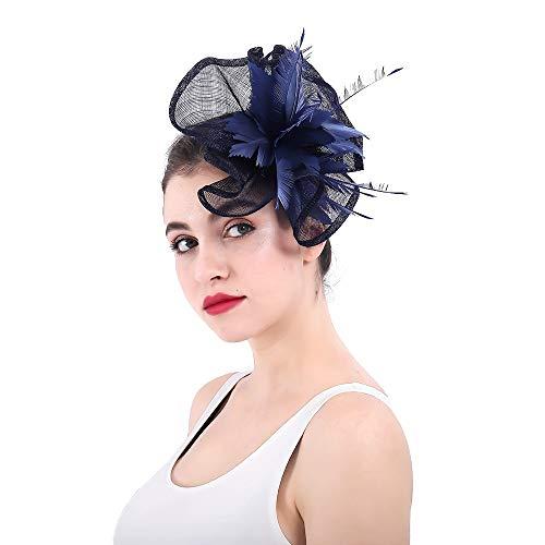 Kanqingqing Partyhochzeitshut der Frauen, Frauen Fascinator Formaler Hut für Hochzeits-Abschlussball-Cocktailparty-Hochzeiten-Rennen Blumenhochzeitskopfschmuck der Frauen