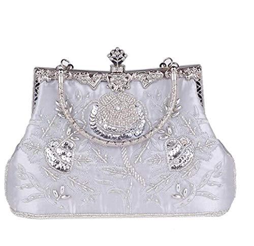 Cheongsam Clutch, Brauttasche, modische Perlen, Vintage-Stil, Bestickt, kleine quadratische Tasche, Silber (Silber) - Young shinee