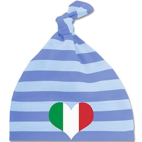Städte & Länder Baby - Italien Herz - Unisize - Blau/Babyblau - BZ15S - gestreifte Baby Mütze mit Knoten / Bommel für Jungen und Mädchen