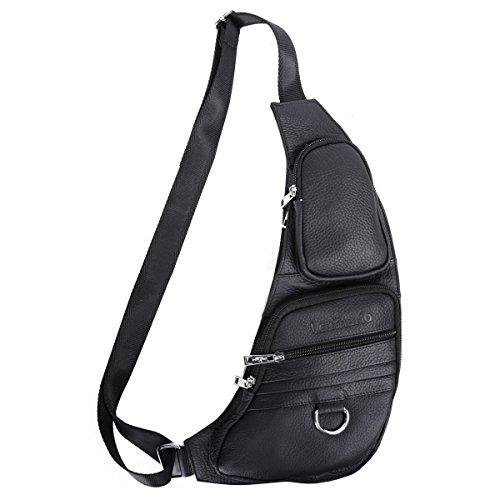 Leathario Herren echtrindleder Brusttasche Brustbeutel Freizeittasche Crossbody Bag Rucksack schwarz Schwarz