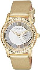 Idea Regalo - Akribos XXIV da donna, con zircone, con cristalli Swarovski, colore: oro, tonalità-Orologio da donna