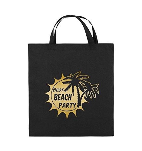 Comedy Bags - BEST BEACH PARTY - PALMEN - Jutebeutel - kurze Henkel - 38x42cm - Farbe: Schwarz / Pink Schwarz / Gold