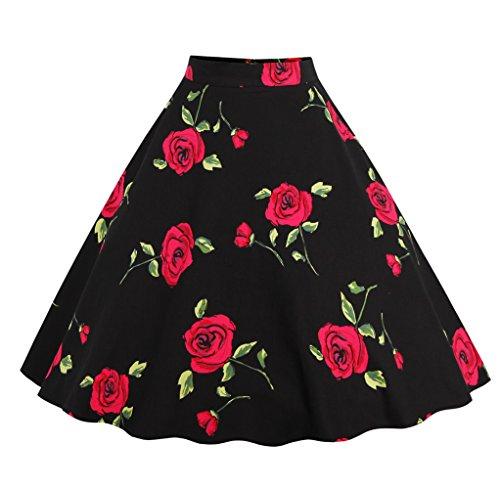 Gladiolus Mujer Estampado Cintura Alta 50s 60s Rockabilly Pin Up Corto Falda Plisada XL Negro RojoF