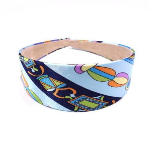 rougecaramel - accessoires cheveux - Serre tête/headband large imprimé - bleu ciel