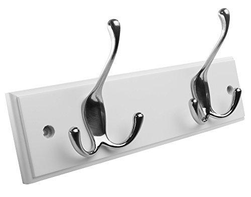 hookiom 629W Tri Haken Mantel Schiene/Rack, weiß Finish und Satin Nickel Haken 2 Hooks weiß
