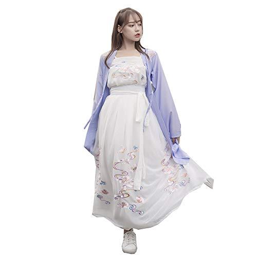 eid, Weinlese gesticktes Hanfu für Lange Hülse der Frauen für Parteifeiertag, Fotoaufnahmekleidung Cosplay Tanz-Kostüm-Blumendrucken 3-teiliges Set,S ()