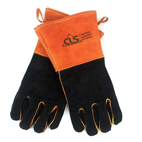 TRIWONDER Rindsleder Grillhandschuhe, BBQ Handschuhe, Hitzebeständiger Handschuhe, Backhandschuhe für Grill, Kochen, Backen, Schweißen (Orange)