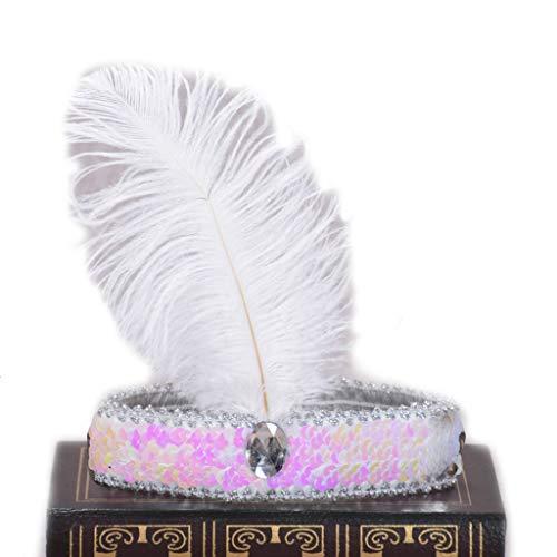 Jiamins Damen Vintage helle Feste Feder Stirnband, 1920 Flapper Glitter Pailletten Strass Schmuck, indische Hairband Showgirl Tanzparty ()