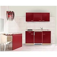 Mebasa MEBAKB15RAC MiniKüche, Küchenblock, Singleküche In Akazie / Rot  Hochglanz 150 Cm, Inkl