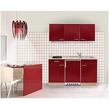 mebasa mebakb15rac minik che k chenblock singlek che in akazie rot hochglanz 150 cm inkl. Black Bedroom Furniture Sets. Home Design Ideas