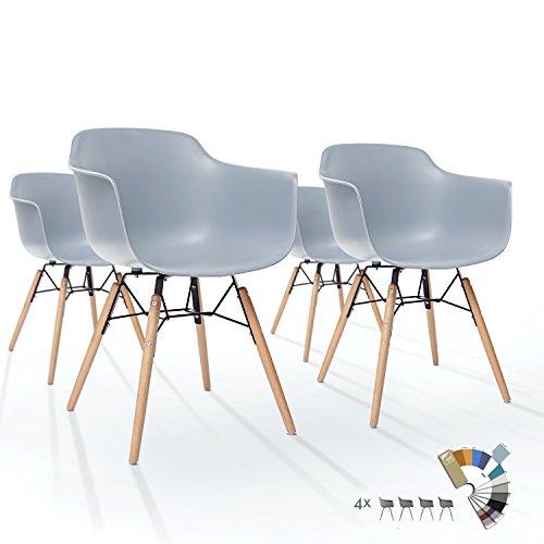 4er Set LTD83 Esszimmer Stühle Moos Grau Kunstoff Designer Schalenstuhl mit Buche Holz Beine Metallgestell Retro Vintage Modern Klassisch Esstisch Stuhl