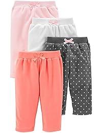 Simple Joys by Carter's 4-Pack Fleece Pants Bebé-Niñas, Pack de 4