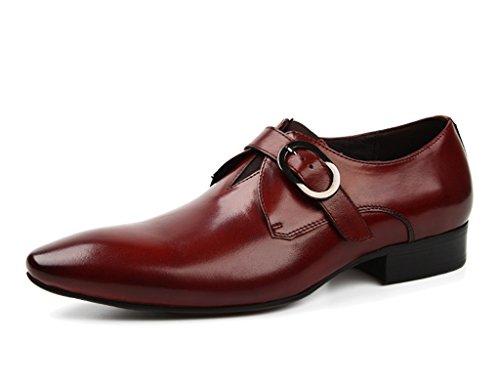 Chaussures Pour Hommes En Cuir Chaussures Hommes Pour Hommes Business Formal Wear Style Britannique Chaussures De Mariage Pointues Mode Respirant Single (couleur: Vin Rouge, Taille: Eu44 / Uk8.5) Vin Rouge