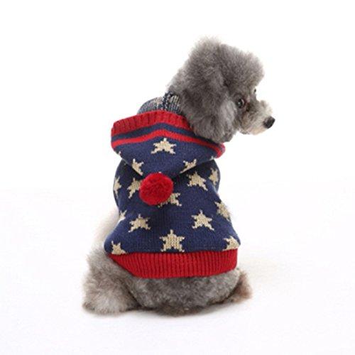 GWELL Hund Hundepullover Hundepulli Kapuzenpullover Winter Strickoullover Sweater Cardigan Weihnachten Fasching Kostüm für kleinen großen Hund Katze Sterne Blau - Großer Hunde Kostüm