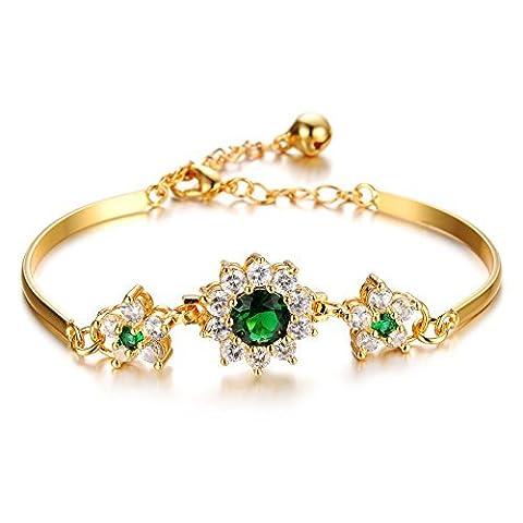 Mädchen Era Prinzessin 18K Gold Smaragd Blumen poliert Armreif Armband