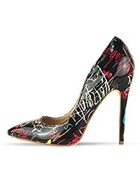 5a2efce66f50 Femmes Escarpins Sexy Talons Haute Mode Graffiti coloré Pompes de Mariage  Chaussures de fête Talons Hauteur