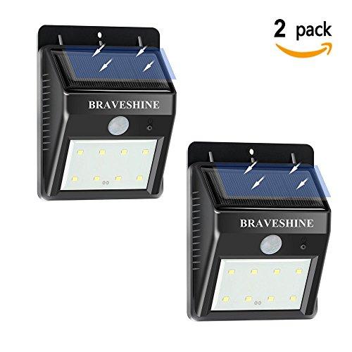 BRAVESHINE [2 PACKS]Focos Solares 8 LEDs de Pared para Jardín Patio Camino de Entrada Escaleras y Iluminación Exterior.