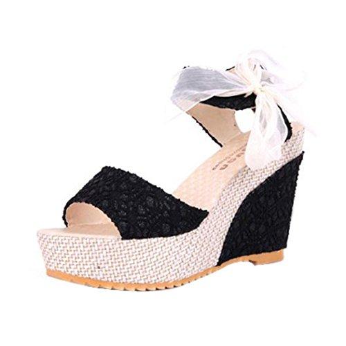 Sandalias de Mujer, ❤️ Ba Zha HeiMujer Verano Dulce Encaje Arco Floral Sandalias con Cuña Peep Toe Cabeza Pescado Zapatos De Tacón Alto Chancletas Zapatillas Sandalias Romanas de Mujer (37, Negro)