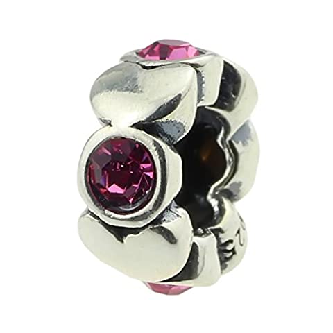 Beads Hunter 925 Sterling Silver Charm Bead Spacer Pink Crystal