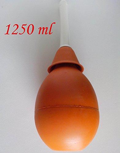Gummi-birne Spritze (Klistier Enema Spritze Irrigator Vaginaldusche Naturkautschuk mit große starre Kanüle n. 20 - 1250 ML - Die größte Kapazität !!! - JONPLAST)