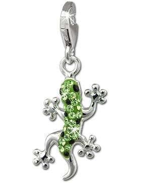 SilberDream Glitzer Charm Gecko hellgrün Zirkonia Kristalle Anhänger 925 Silber für Bettelarmbänder Kette Ohrring...