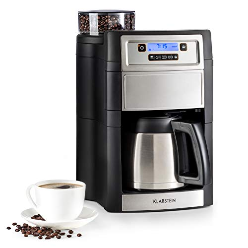 Klarstein Aromatica II Cafetière avec moulin - cafetière filtre, 1000W, Thermos 1,25L, Timer 24h, Écran LCD, filtres permanent et au charbon actif, argent