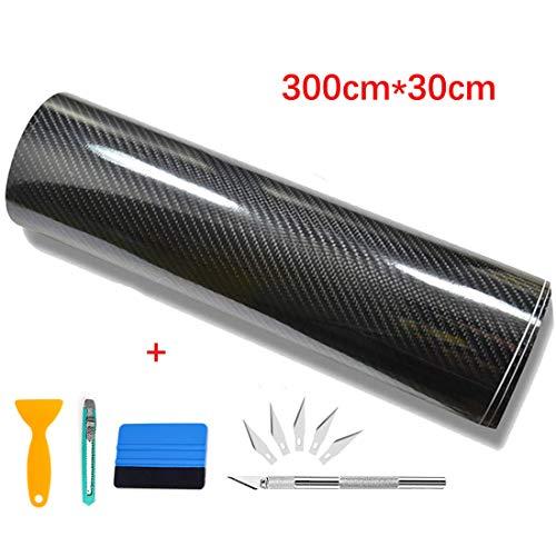 Pellicola adesiva carbonio, yilyln pellicola adesiva per auto 6d - fibra di carbonio adesiva 300cm*30cm (nero)