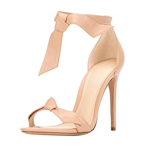 Damen Sandalen Open Toe High-Heels Stiletto Knöchelriemchen Nude