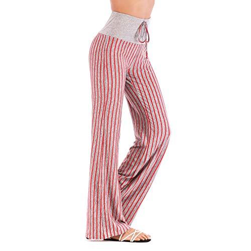 Jogginghose Damen Casual Streifen Straight-Bein-Hose Elegant Weiche Lange Hose High Waist Stretch Pilates Hosen Ideal für Sport Yoga Tanz Jogging Dance