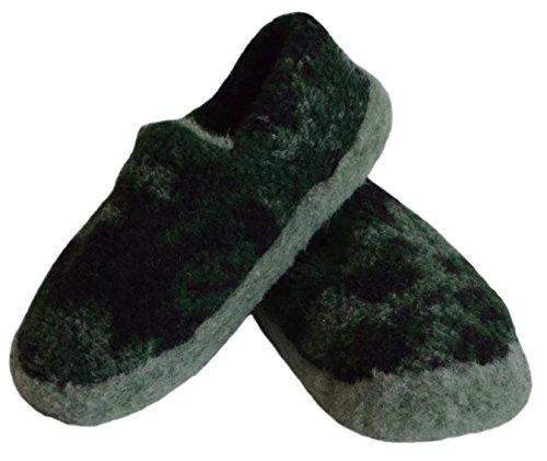 SamWo, Schafwoll-Wohlfühl-Hausschuh/Pantoffeln unisex,weiche rutschfeste Sohle,100% Schafwolle Größe: 37-48 Moro
