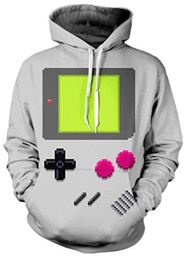 TDOLAH Damen Casual Langarm Kapuzenpulli Digital Print Tops Fashion Sweatshirt Pullover (L / XL, GameBoy-Player)
