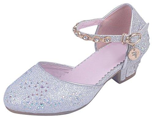 SMITHROAD Mädchen Prinzessin Schuhe Giltzer Sandale Kinder Hot-Fix Strass Halbschuhe Kostüm Ballerinas Absatz Silber Gr.32 (Kostüme Pailletten Et Strass)