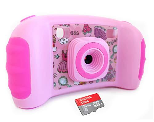 Vetté Kinderkamera mit 16GB MicroSD Speicherkarte - Multifunktionale Kinderkamera - 2 Fach Digitalzoom, 5MP, 720P HD Videofunktion, 1.8 TFT LCD Bildschirm - Das Beste Kindergeschenk (Rosa)
