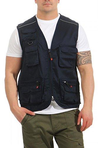 Mivaro Herren Safari-Weste mit vielen praktischen Taschen, funktionale Arbeitsweste, Outdoor-Weste, Farbe:Dunkelblau, Größe:5XL