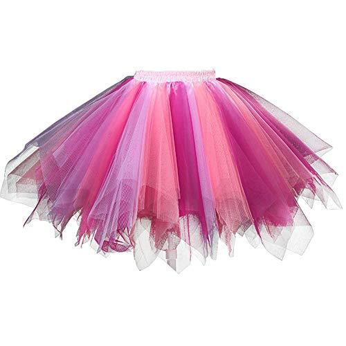 Feoya Damen Mädchen Petticoats Minirock Kurz Unterrock Vintage Tutu Cosplay Tanzkleid Party Hochzeit Pettiskirt Tüllrock