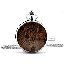Brown & Black Textured Cover Silver Pocket Watch & Chain Simulated Leather Unique Unisex