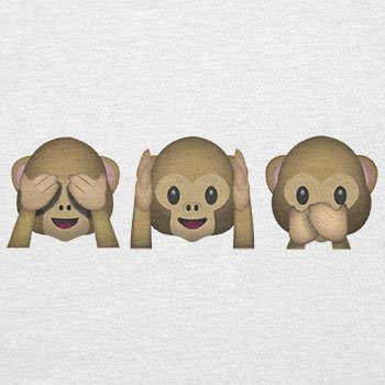 Texlab–Three Monkeys Emoji–sacchetto di stoffa Bianco