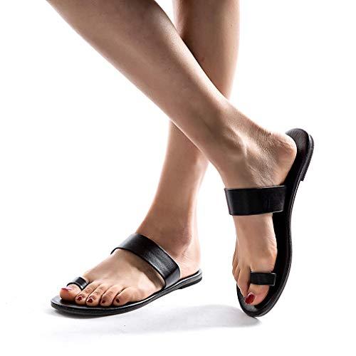 Geilisungren Damen Sommer Zehenquadrat Sandalen Und Hausschuhe Low Heels PU-Leder Flip Flops Outdoor Pantoffeln Strandsandalen Lässige Römische Flache Schuhe Slippers