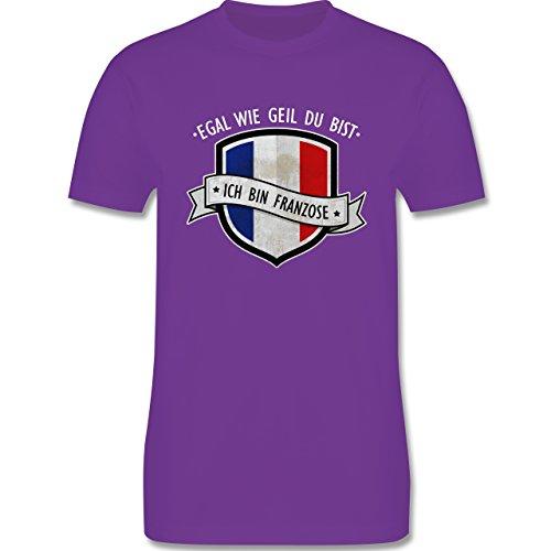 Shirtracer Länder - Egal wie Geil Du BIST - Ich Bin Franzose - Herren T-Shirt Rundhals Lila