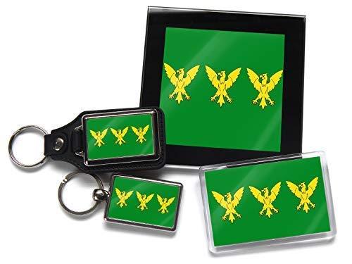 Flag of Caernarfonshire Owain's Adler Walisischer Grafschaft Geschenkpaket Chrom Schlüsselring Schlüsselanhänger aus Leder Kühlschrank-Magnet und Glas Untersetzer mit Geschenk-Box -