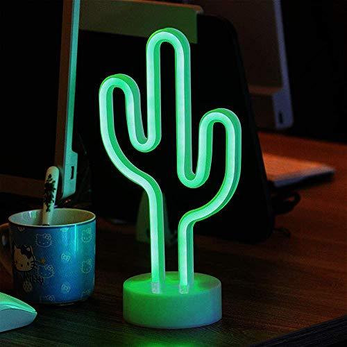 ENUOLI Green Cactus segni al neon con base a luce al neon del segno USB Battery 3-AA luce alimentata per per feste in camera decorazione delle ragazze di accessori per i regali decorazione della Tabe