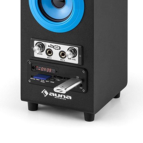 auna DiscoStar Blue • 2.1 Bluetooth-Lautsprecher • Radio • UKW-Radiotuner • 30 Speicherplätze • MP3 • SD • USB • Mini-USB • AUX • Mikrofon • LED-Lichteffekt • Akku • tragbar • blau - 8