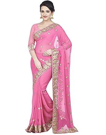 SareeShop Georgette Saree With Blouse Piece (DarpanRani_Saree_Pink_Free Size)