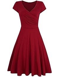Leadingstar Damen A-Line V-Ausschnitt Kurzarm Casual Vintage Elegante Kleider