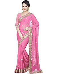 [Sponsored]Zofey Designer Sarees Women's Georgette Embroidered Saree With Blouse Piece(DarpanRani-SAREE01_Pink_COLOUR)