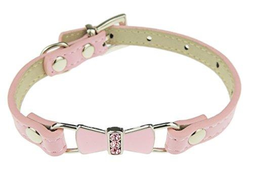 Liebenswürdig, Hunde Leder Look Extra Sparkly mit Kristall Schleife Halsband Rosa (Halloween Familien Ideen Mit Hund Kostüm)