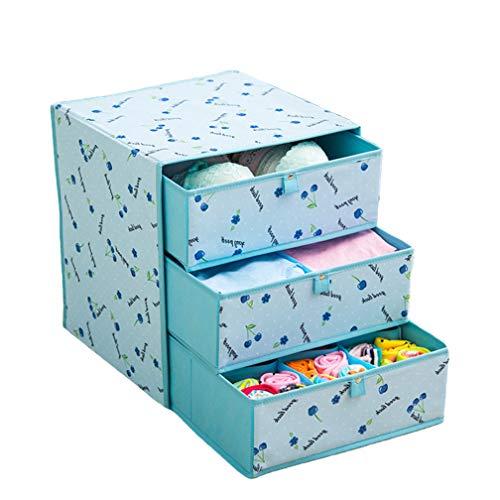HKANG Utensilientaschen für Kinderzimmer, Aufbewahrungsbox für Unterwäsche, Oxford-Tuch, Schubladenart, DREI Etagen,Blue